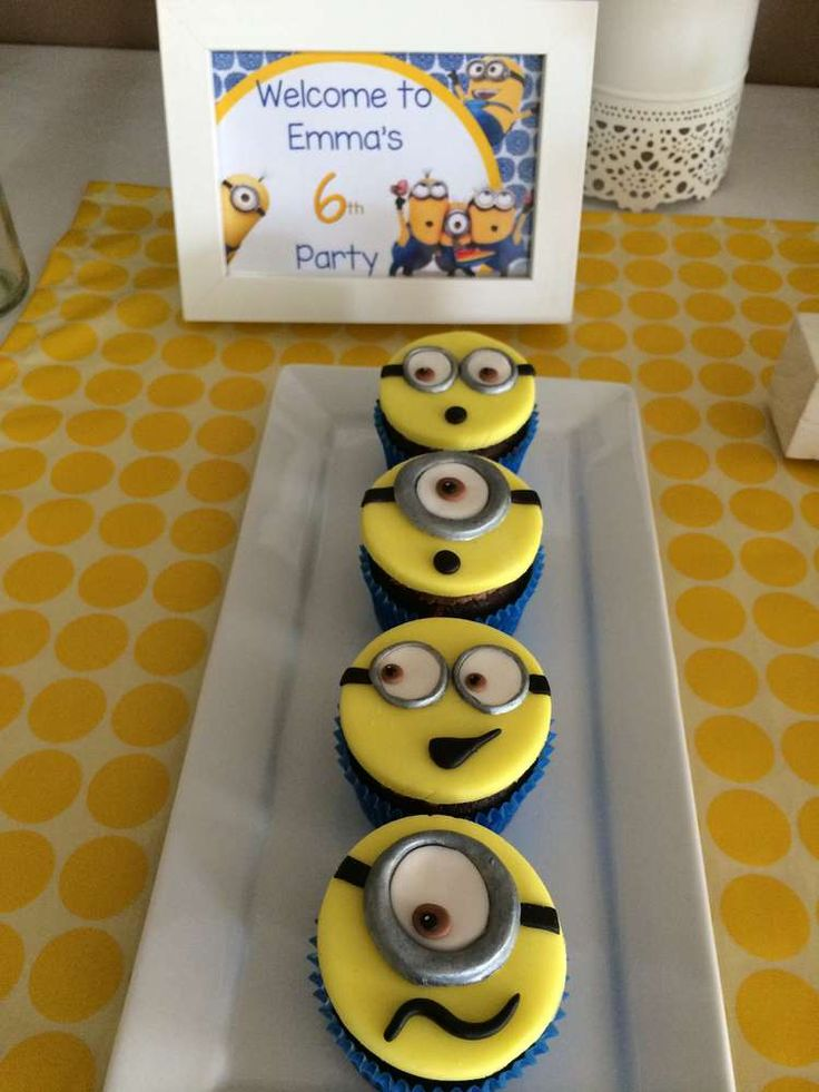 Fun Minion cupcakes at a Despicable Me birthday party! See more party planning ideas at CatchMyParty.com!