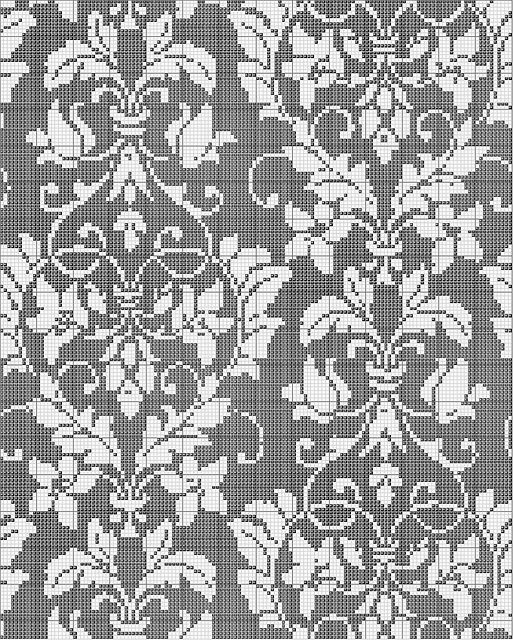 Damask cross stitch pattern/ modèle