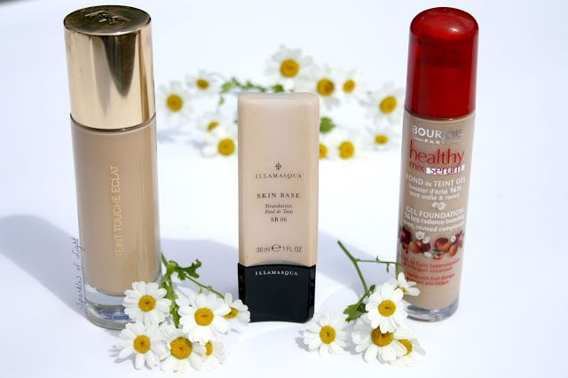 Top Three Liquid Foundations featuring bourjois healthy mix serum, ysl le teint touche eclat and Illamasqua skinbase.  compared to celebrity personalities, helen flanagan, emma watson and sheridan smith