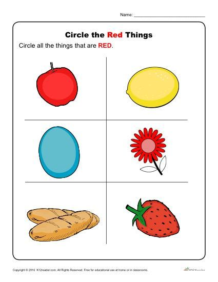 Circle the Red Things Color worksheets for preschool