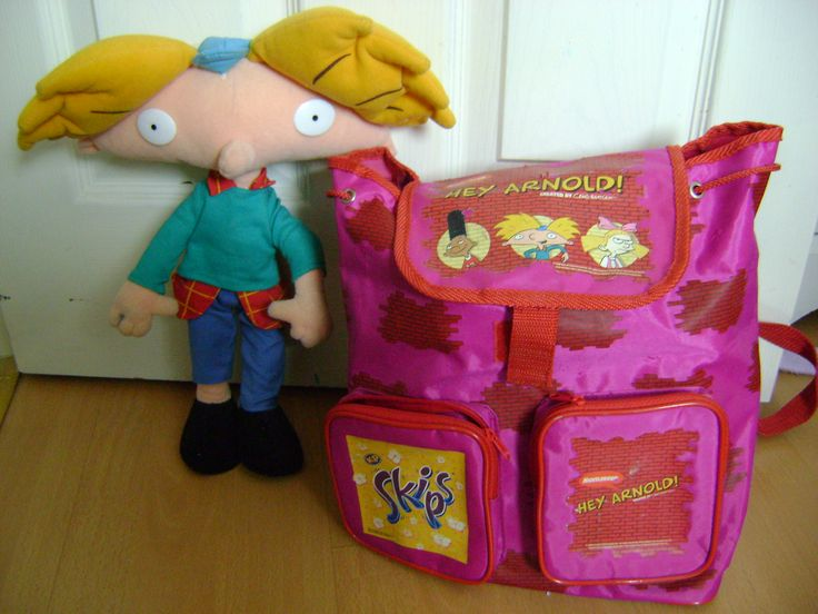Hey Arnold! 90s toy and free promotional bag with collected Skip crisp packets.