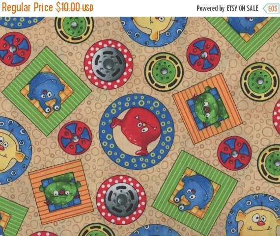 ON SALE Monster Fabric, Monster Truck Mania by Quilting Treasures, Monster Truck Fabric, Monsters, 05073