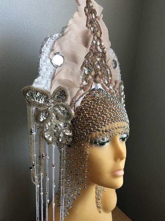 Dramatic beaded fringe Cleopatra Bride Blush
