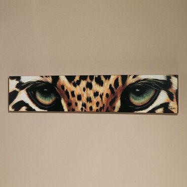 Leopard Eyes Canvas Art. For Above Red/burgundy curtains