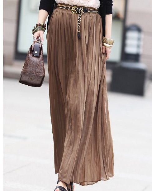 long skirts | trendy long skirt with ruffle style and soft brown color1 Long Skirt ...