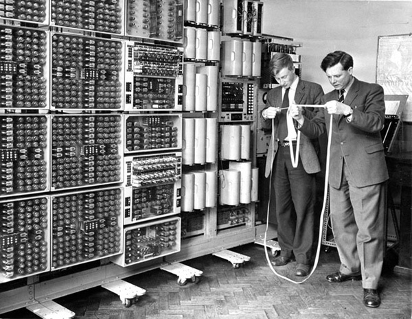 Students using the W.I.T.C.H computer in 1957 - now the oldest surviving working digital computer. Now housed at the National Museum of Computing.