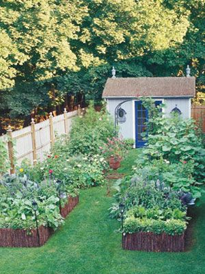 Make the Most of Small Garden Spaces - Gardening Tips at WomansDay.com - Woman's Day. Kind of what I had in mind for a new backyard but on a smaller scale or something :)