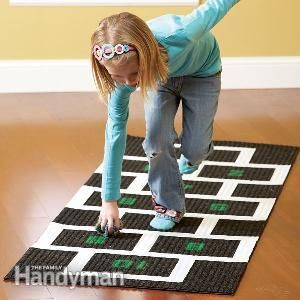 Make this super-easy hopscotch mat for your kids! It rolls up for easy storage when playtime is over.