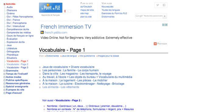 """Vocabulaire du français - Le Point du FLE Under """"Vocabulaire - Page 1"""" click on """"Les aliments - Les vêtements"""""""