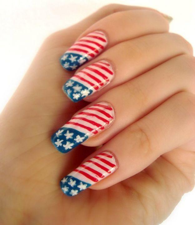 Американский флаг на ногтях ::: onelady.ru ::: #nail #nails #nailart #manicure