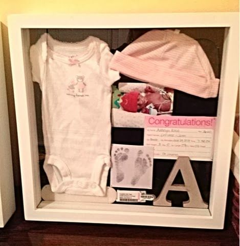 baby shadow boxes - I like the letter and the announcement idea