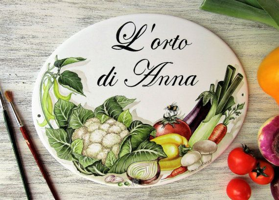 Vegetable garden personalized house sign Hand by LaTavolozzaShop
