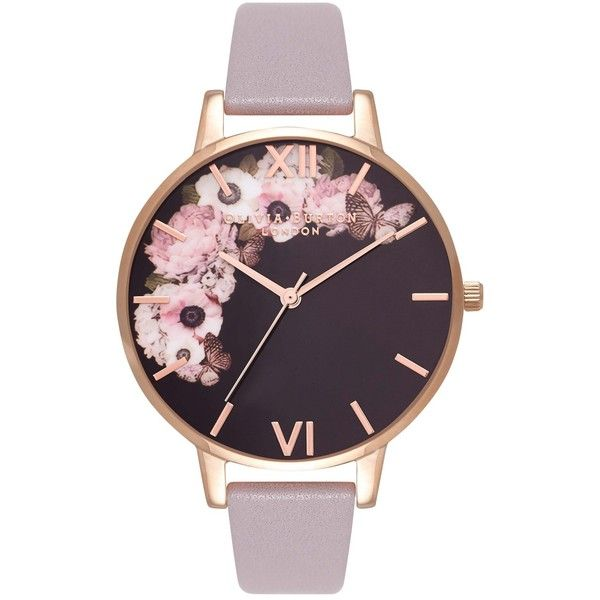 Olivia Burton OB16WG19 Women's Winter Garden Leather Strap Watch, Grey... ($99) ❤ liked on Polyvore featuring jewelry, watches, slim watches, dial watches, leather-strap watches, roman numeral jewelry and olivia burton watches