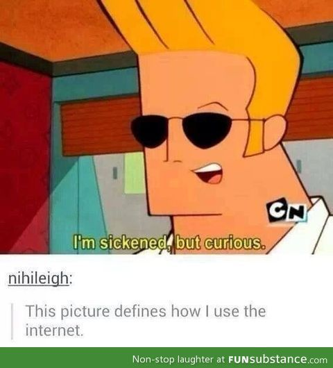 It's Johnny Bravo from Cartoon Network! The description is both funny and true.