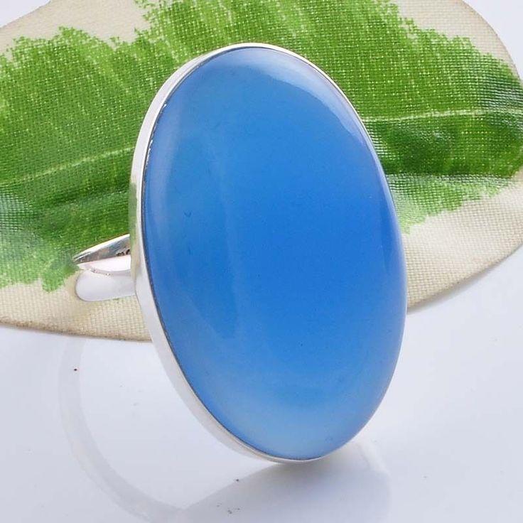 925 STERLING SILVER BLUE CHALSEDONY GEMSTONE FANCY JALI RING 9.39g R01484 #Handmade #GEMSTONERING