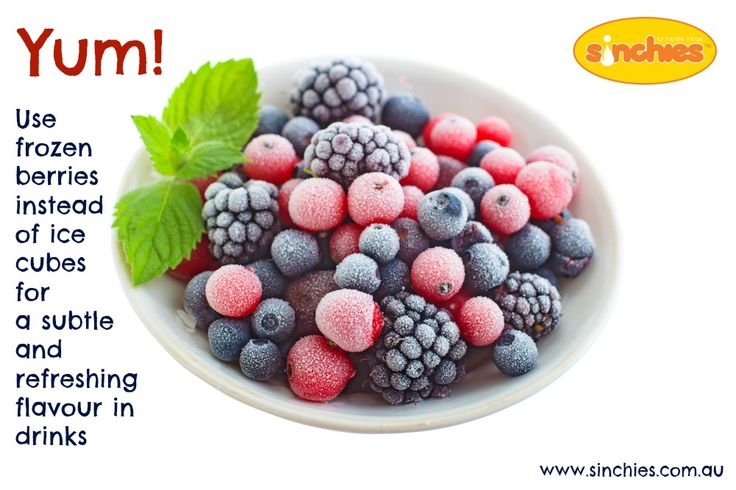Yum - use frozen berries instead of ice cubes for a subtle and refreshing flavour in drinks - Image on Sinchies  http://www.sinchies.com.au/sinchies-gallery/