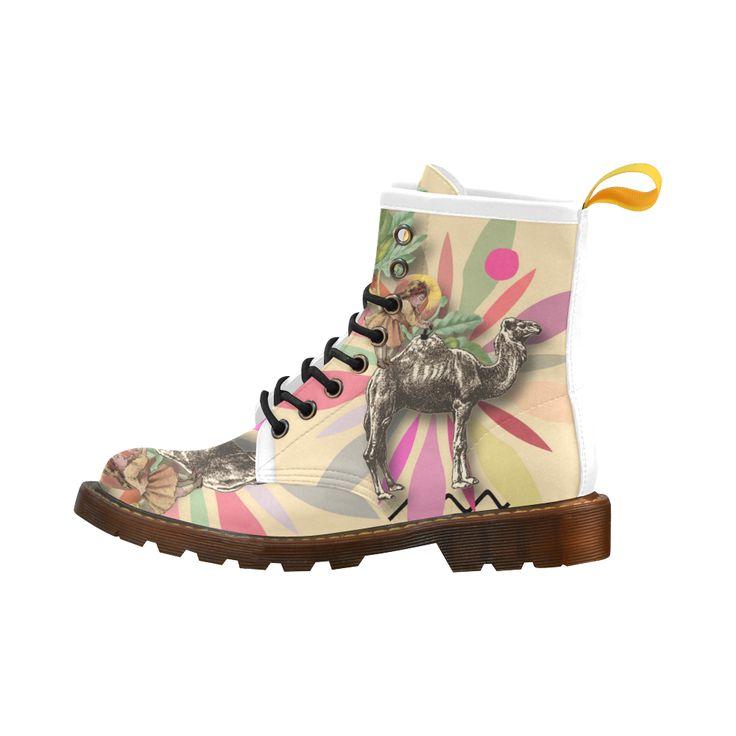 Kamel-Gloria Sanchez Leather Martin Boots For Women Model 402H