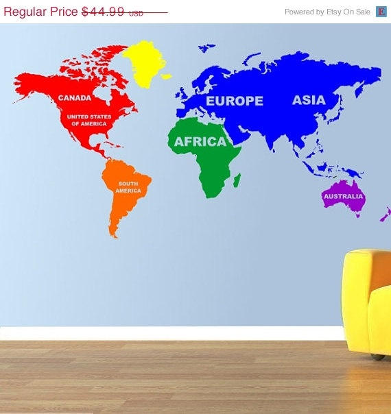 47 best viniles images on pinterest world maps wall decals and multicolored world map vinyl wall decal by thatstotallycool via etsy gumiabroncs Images