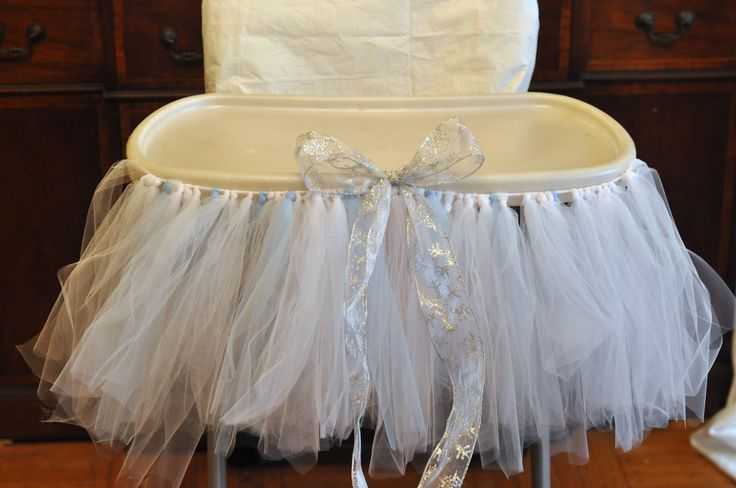 high chair tutu winter sparkle snowflake first birthday party Will have to do this for Alaina!