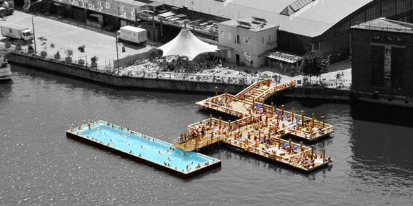 """10 of the Weirdest and Most Wonderful Swimming Pools on Earth - Badeschiff of Berlin, Germany. No, it's not a """"bathing ship"""", but it is a shipping container which has been a pool since 2004"""