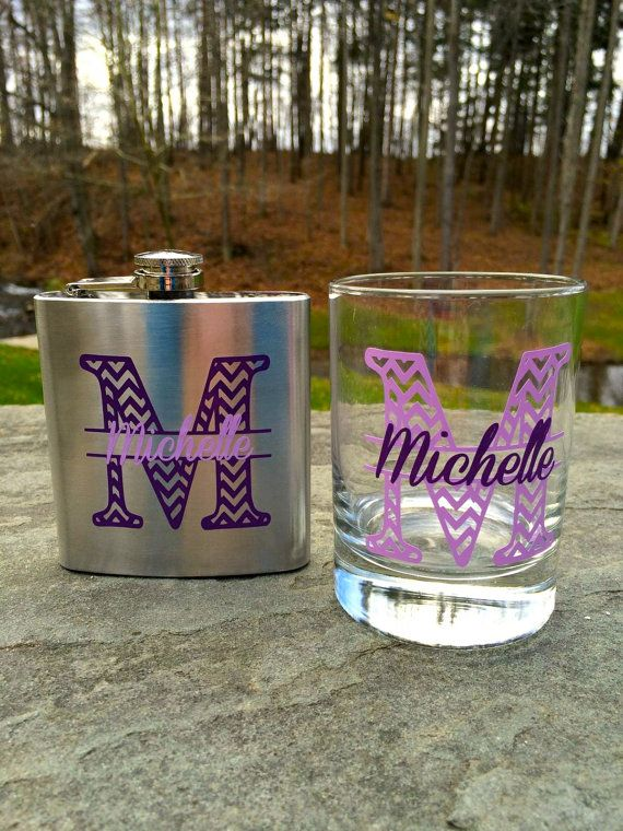 Bridesmaid gift, chevron monogram flask and cocktail glass.  Personalized with name.  Christmas gift idea, bachelorette favors on Etsy, $20.00