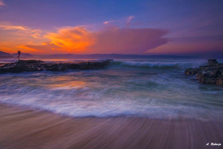 Sunrise at  Karang Hawu, Pelabuhan Ratu Beach,Sukabumi, West Java,  Indonesia.