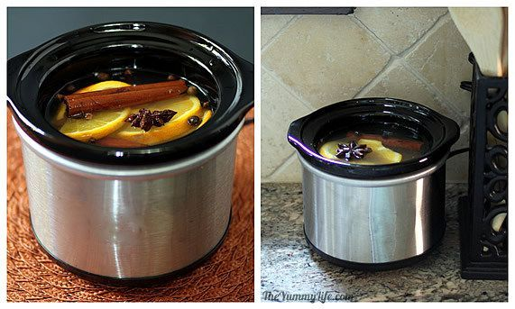 House Scents:Uncovered Slow Cooker Method.  use a mini slow cooker The mixture never actually bubbles and visibly steams.  leave it uncovered on  counter to slowly release scent throughout the day. Its subtle, but creates a pleasant smell in my kitchen and a hint of scent in surrounding rooms.  Its easy and uses very little electricity. Microwave for 2 min to start