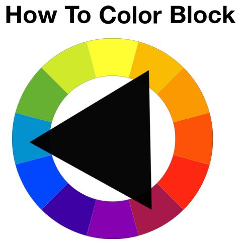 "How To Colour Block: A helpful hint provided by Style Prompt is to ""make a triangle on the color wheel and choose two of the three colors that the corners touch. These colors harmonize well."""