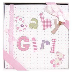 """Whimsical PINK BABY GIRL's First PHOTO ALBUM/Newborn Infant GIRL/HOLDS 72 Photos 4"""" x 6""""/Great BABY SHOWER or Christening Gift/IT'S A GIRL/New Moms"""