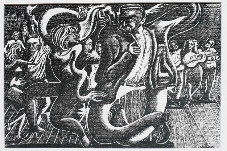 """Fernando Allende Bellido, """"La primera pata"""", tinta sobre papel."""