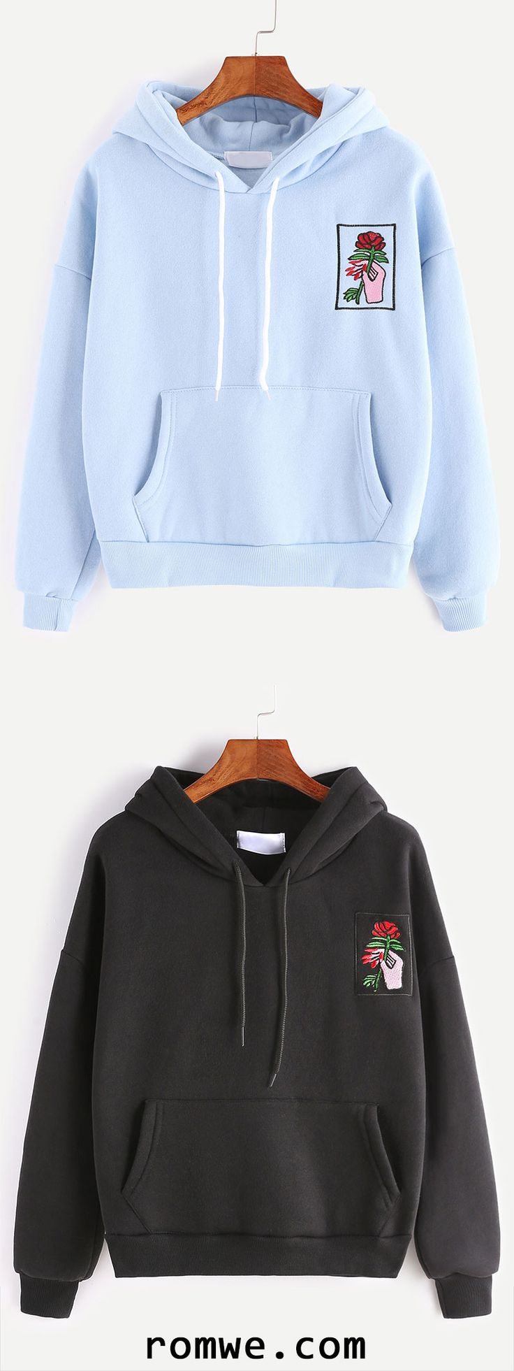 Drop Shoulder Hand Rose Embroidery Pocket Hoodie
