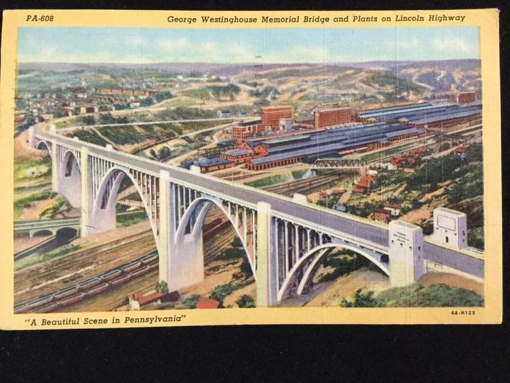 1951 George Westinghouse Memorial Bridge, Pittsburgh, PA postcard