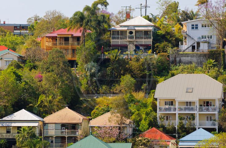 Colourful Queenslander houses on a steep hillside in Paddington, Brisbane, Australia