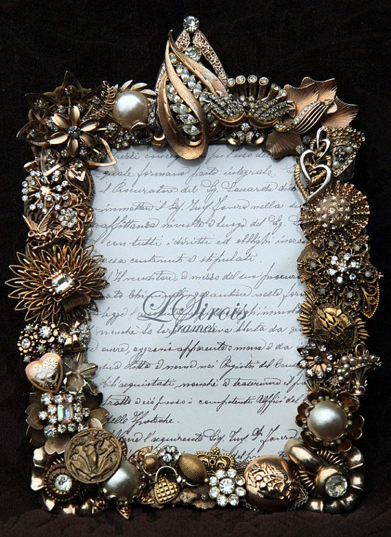 vintage jeweled rhinestone picture frame