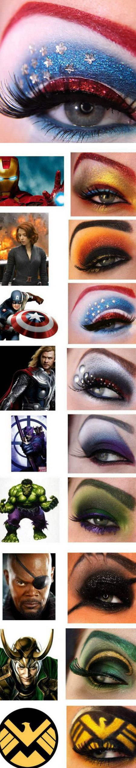 Avengers Costume Makeup - I put this under jokes because wow! Some people have way too much time on their hands. That and I thought how much my sister would like this and might actually accomplish some of these...