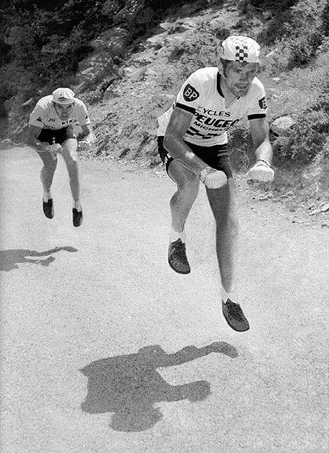 Tour de France 1975, a classic battle between Bernard Thévenet and Eddy Merckx, slightly photoshopped I gather