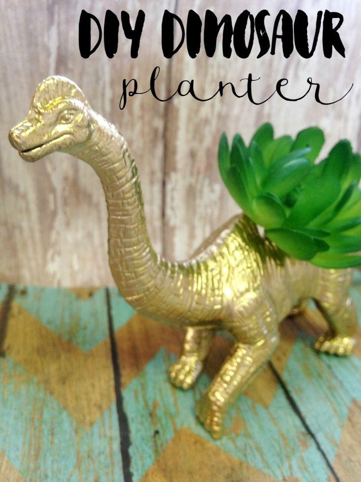 diy dinosaur planter decoration easy diy planters and kid. Black Bedroom Furniture Sets. Home Design Ideas