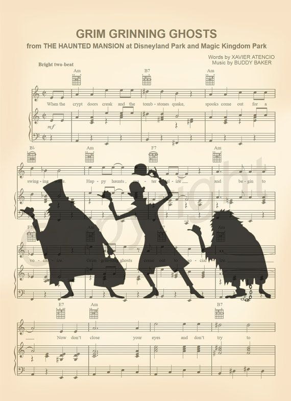 Haunted Mansion Hitchhiking Ghosts Music Sheet Art by AmourPrints