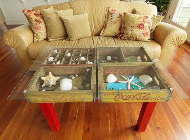 How to Make a Table Using Old Wood Soda Crates : Home Improvement : DIY Network  - LOVE this!!: Coffee Tables, Ideas, Craft, Shadow Box, Furniture, Diy
