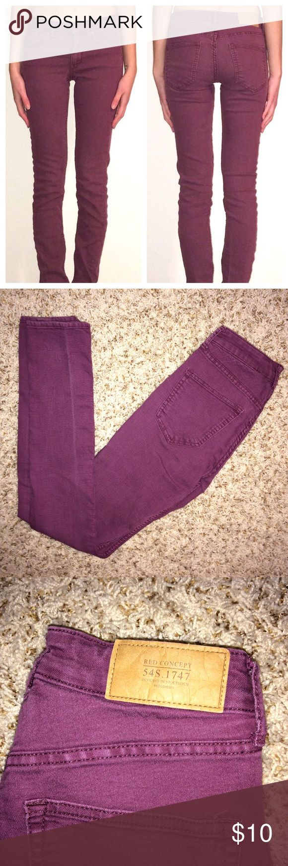 "H&M Divided Red Concept Purple Skinny Jeans In pre-worn condition, but still have a lot of wear left. Purple stretch jeans. 32"" inseams. H&M Jeans Skinny"