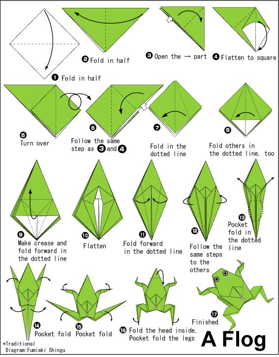"How to make a traditional origami frog (er ""flog"")"