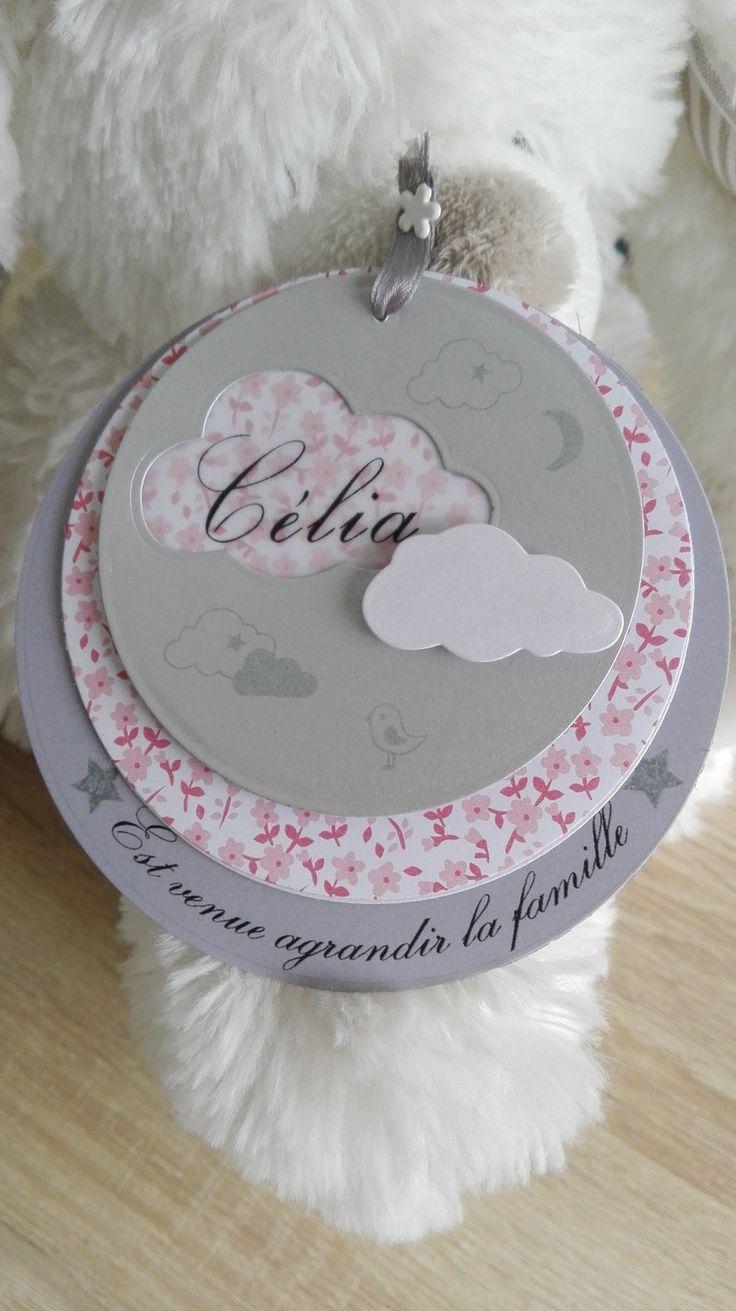 Faire part naissance rond 100% personnalisable Petits Nuages Liberty Fleuri : Faire-part par perles-papiers-ciseaux