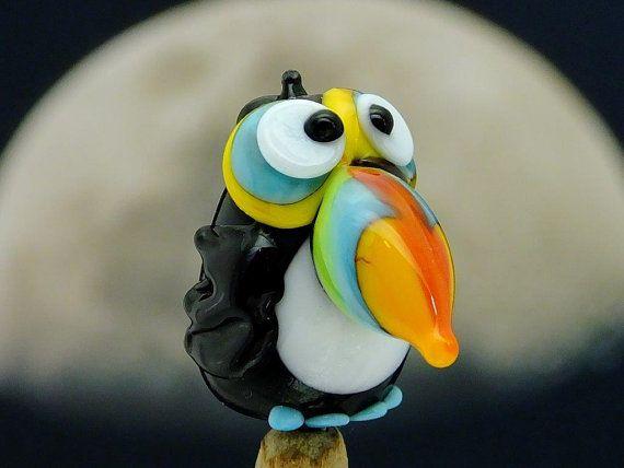 Toucan Jose lampwork tropical bird bead sra by DeniseAnnette, $16.00