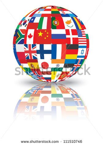 sphere with flags of the world illustration