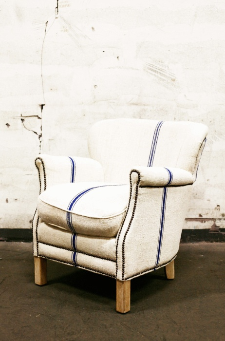 Classic #armchair In The Club Model. Made By Hand From Antique French Flour  Sacks