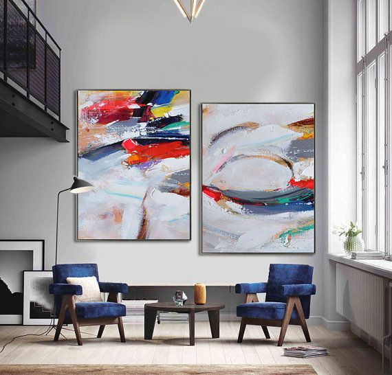 Set Of 2 Large Contemporary Painting Abstract by CZ Art Design