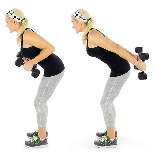 Tricep+Kickbacks leaning forward, keep elbows tucked in close to body, keep elbows still, extend arms back, bring back to chest slowly repeat due 15-25 reps increase weights from 1 to 3 to 5 lbs as you get stronger.