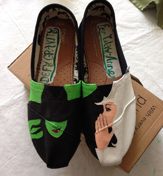 Custom Painted Wicked Tom's Style Canvas Shoes by LillyRoseCanvas, $50.00