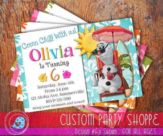 SUMMER FROZEN Printable Olaf INVITATION, Custom Frozen Invitation For Girls Birthday Party, Summer Pool Party Birthday, Custom Party Shoppe