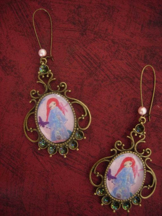 A Peaceful Soul  Mixed Media Art illustrated earrings by eltsamp, $29.00